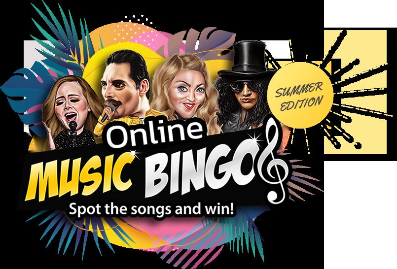 Online summer music bingo event logo